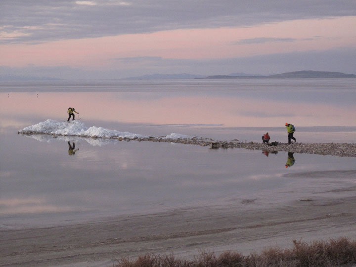 The crew -- West on the ice floe and Groove and Coots on the jetty -- work the pink sunset light til nearly dark.