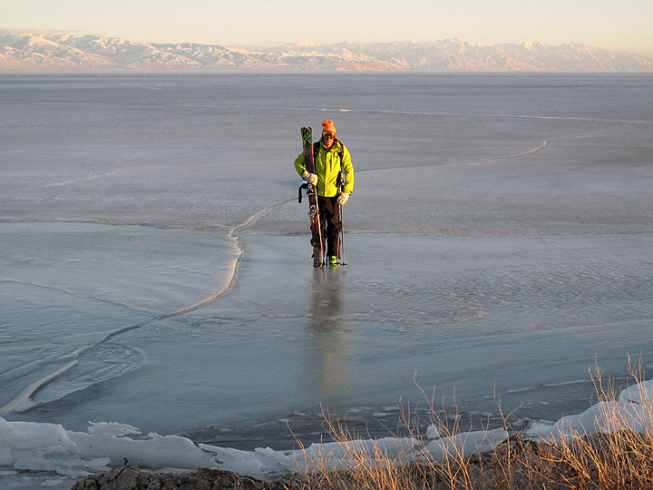 It's all about the lifestyle: Coots on the Great Salt Lake's thin ice... perhaps the diciest thing the crew did all day.