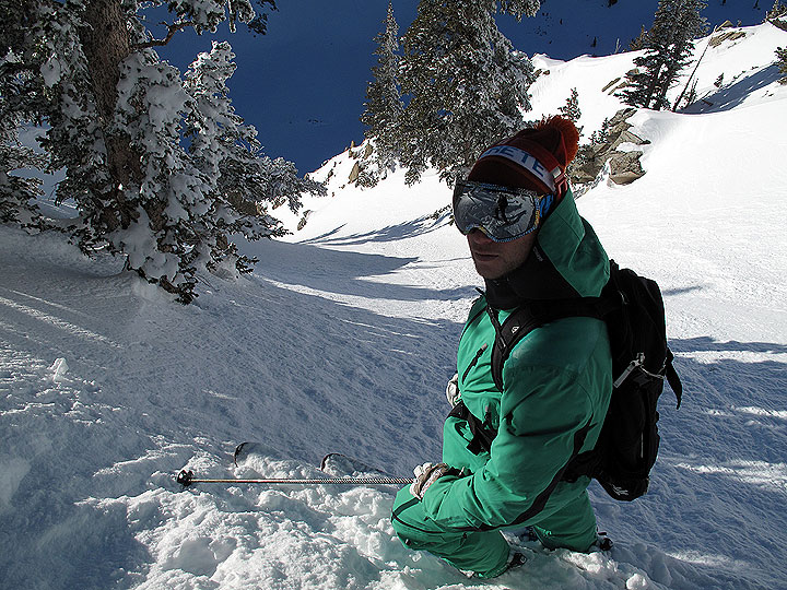 The final mission is a descent of some west-facing coolers of the Wolverine Cirque that had yet been skied since the storm. Frenchy agrees too that sometimes there's a reason things haven't been skied -- upper portion is dust on crust.