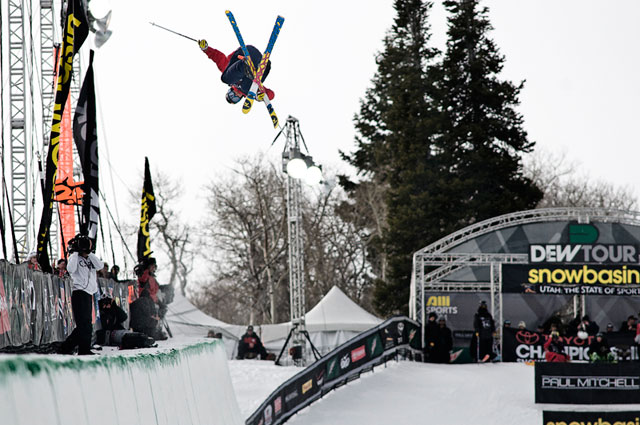 Rolland en route to the Dew Tour Cup today at Snowbasin. Photo: Rocky Maloney