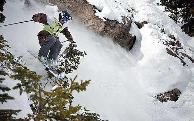 Lar Chickering-Ayers during Saturday's Day 1 in Staircase at Crested Butte. Photo: Eben Wight/MSI.