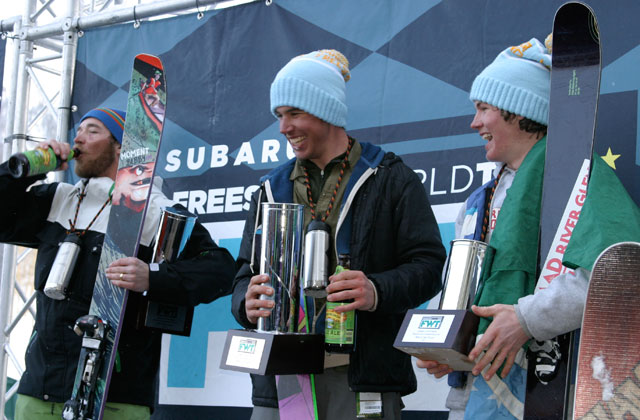 Gents podium: Tom Runcie, left, and the Brothers Chickering-Ayers, Lars and Silas, center and right. Photo: L.R. Fielding.