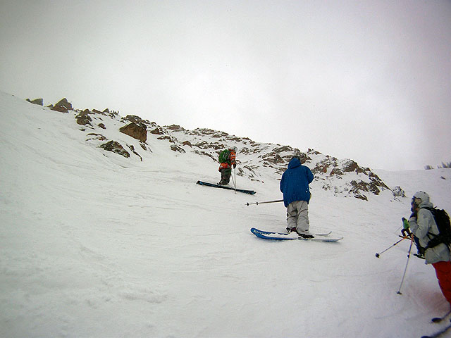 Casey Baskins, Sean Richard and Ian Lockhart check out the runout of Angel Gully at Crested Butte during yesterday's Subaru FWT inspection. Photo: L.R. Fielding