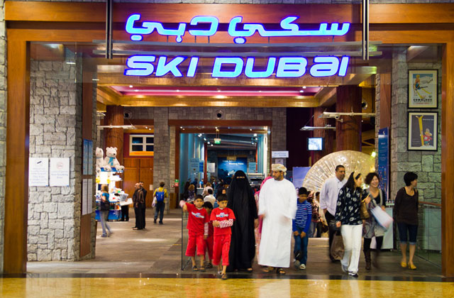 Just past the food court and boutiques in the Royal Emirates Mall is where you'll find it: Ski Dubai. Photo: Gabe Rogel.