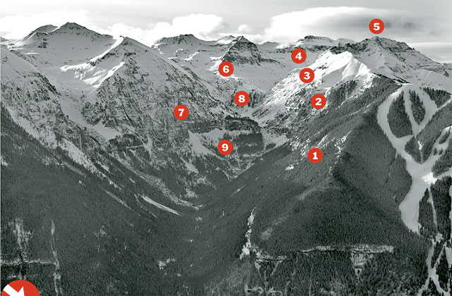 Reversing course from a decision in December to remove access gates from the Telluride Ski Resort into the Upper Bear Creek sidecountry, the U.S. Forest Service today announced it will re-open an access point from the ski area near Palmyra Peak (No. 5 in this image). Photo: Brett Schreckengost/tellurideoffpiste.com