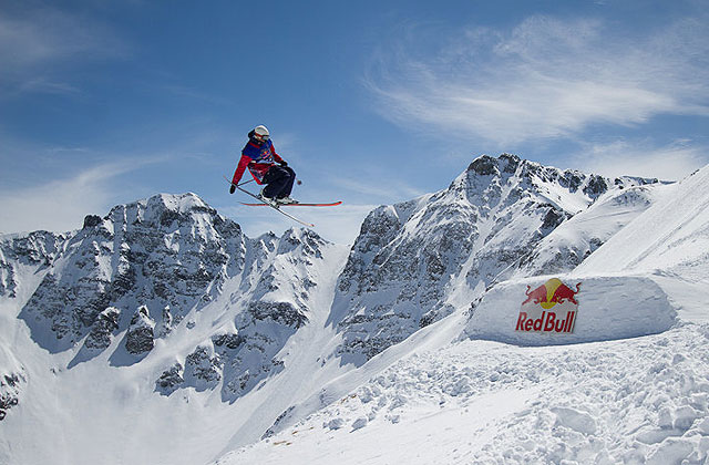 Josh Bibby during Tuesday's Day 2—slopestyle day—of the Red Bull Cold Rush. Photo: Jim Harris/powder.com