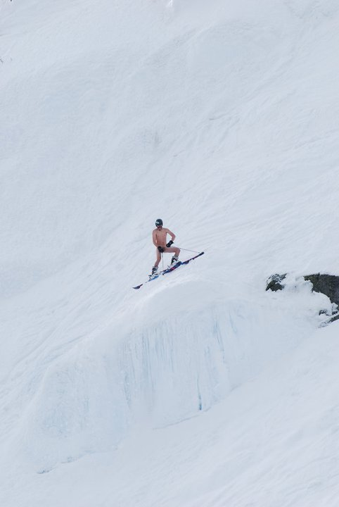 Live Free or Die? You bet your ass! Naked skier prepares to launch. Photo: Tim Fater