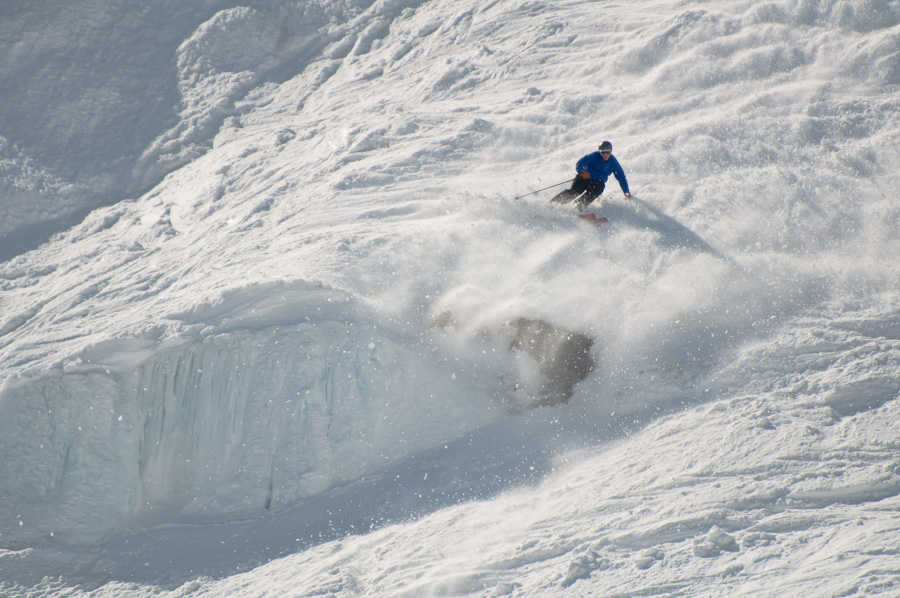 A skier negotiates his way down. Photo: Tim Fater