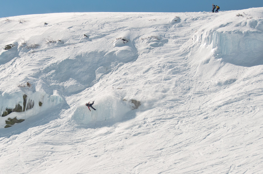 In case you were wondering, this is one of the skiers that ate shit at Tucks. Photo: Tim Fater