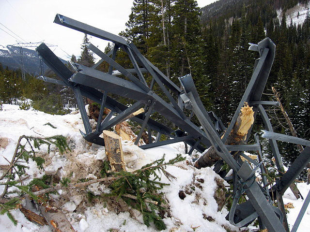 The scene in the aftermath of the Peru Creek slide: Wrecked high-voltage tower. Photo: Colorado Avalanche Information Center