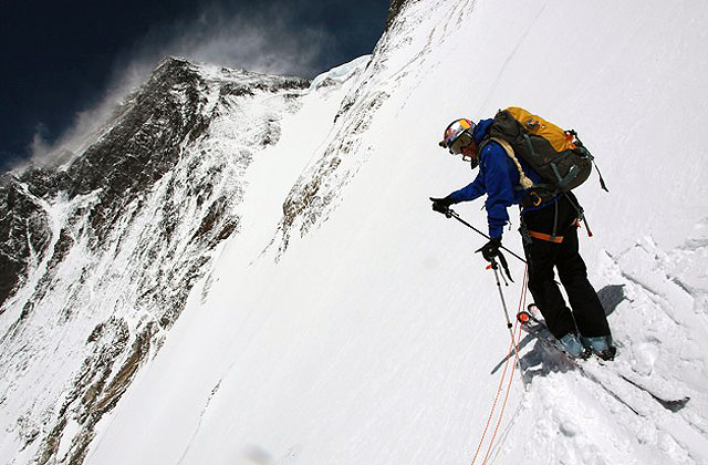 Chris Davenport prepares for some skiing at approx. 25,000-feet on Everest's Lhotse Face, May 5. Photo: Neal Beidleman