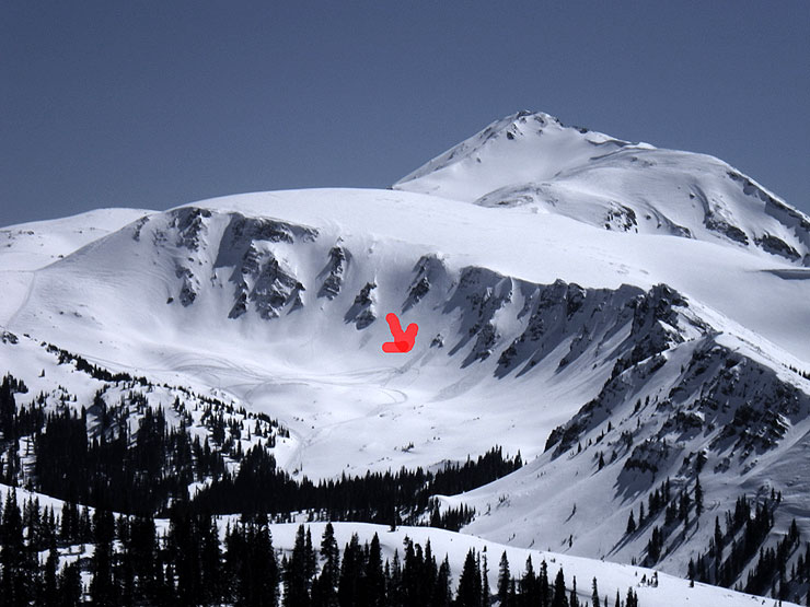 The M&M Chutes: Easy to get to by snowmobile, not so easy to get out of... with a broken femur. Photo: Ian McLendon