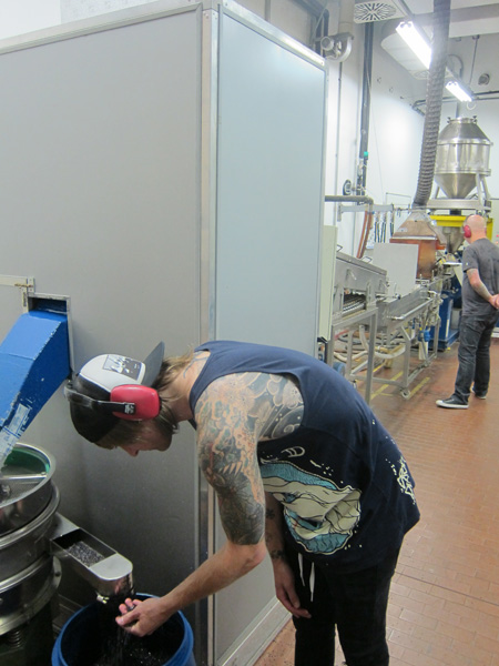 Anton checking out the pellets from the linguini machine.