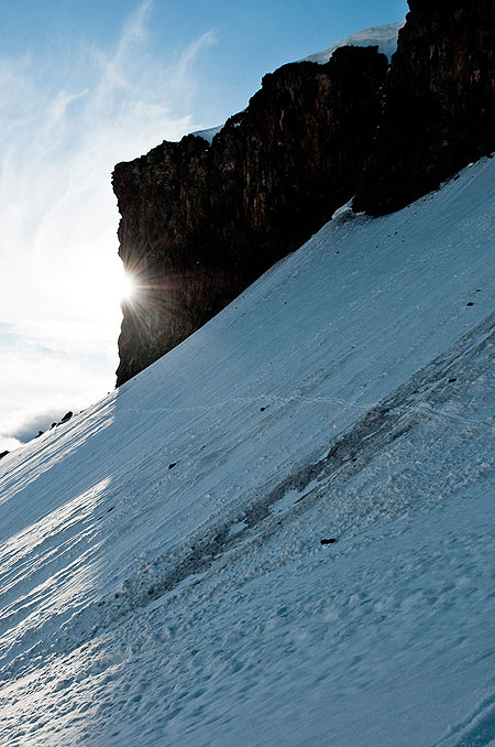 On the hour-long traverse back to Timberline. Photo: Darcy Bacha