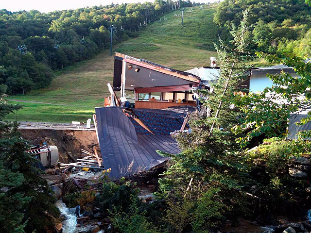 What's left of the SuperStar Pub, at Killington. Note truck at lower left corner.