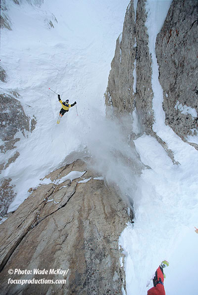 Howie Henderson sticking S & S Couloir at Jackson. Photo: Wade McKoy/focusproductions.com