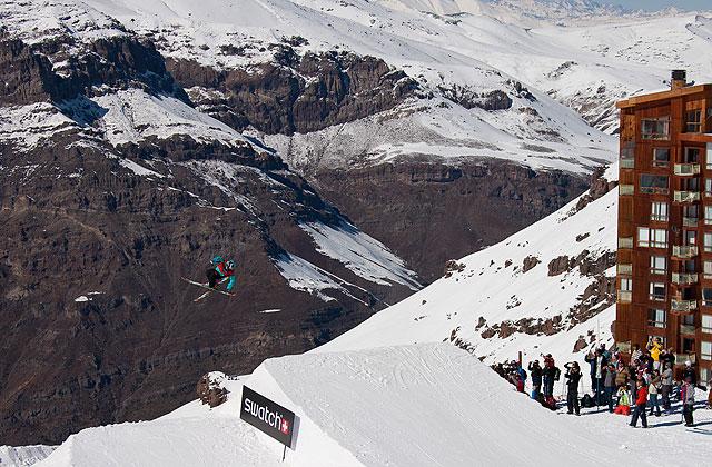 Rory Bushfield during the Skiers Cup slopestyle showdown. Photo: Swatch/Maxim Balakhovskiy