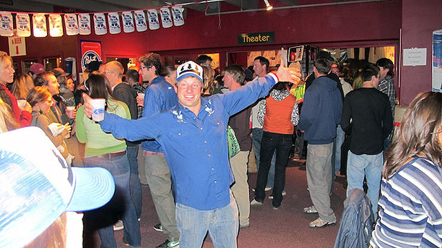 Fans, some of whom were stoked, showed up at Jackson's Pink Garter Theater Saturday night to drink up KGB's world premiere of 'Wyoming Triumph.' Photo: Griffin Post