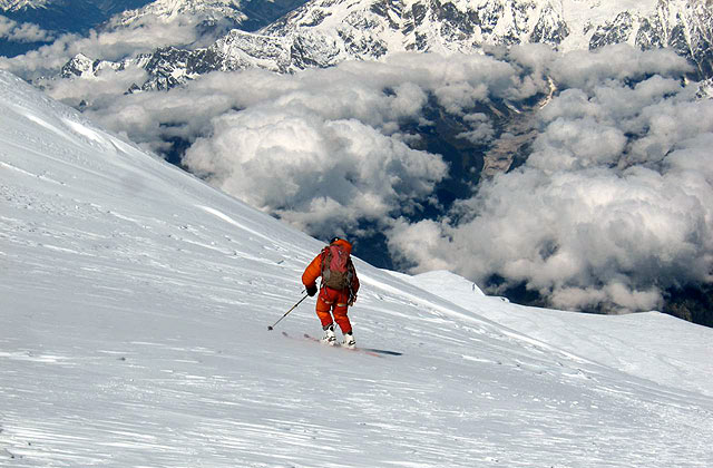 The only photo of Ballinger skiing on summit day, just above Camp 4. Photo: Adrian Ballinger collection