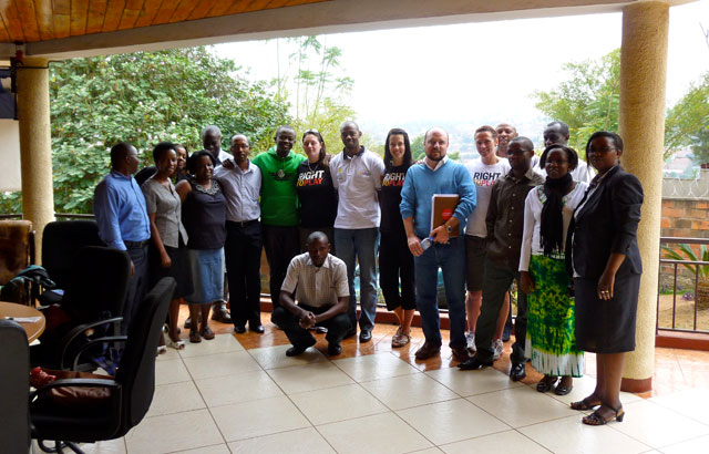 Helen, Ariel and I with Right To Play staff from the Rwanda headquarters.