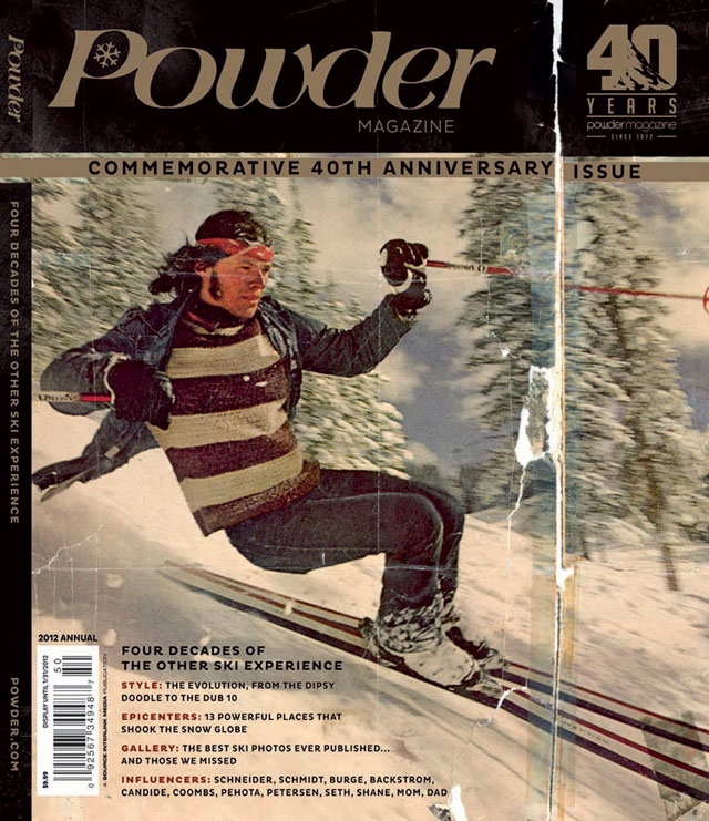 Powder's commemorative 40th anniversary issue hits newsstands today (Tuesday, Nov. 29). Skier: Jim Biebl. Location: Aspen, Colorado, 1972. Photo: Neil Leifer/Sports Illustrated