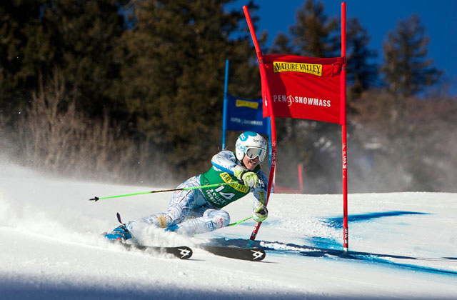 Julia Mancuso cranks a turn during Saturday's World Cup GS on Aspen Mountain. Photo: Jeremy Swanson/AspenSnowmass.com