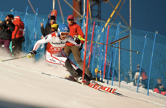 Austria's Marlies Schild on course Sunday during the Aspen World Cup slalom. Photo: Jeremy Swanson/AspenSnowmass.com