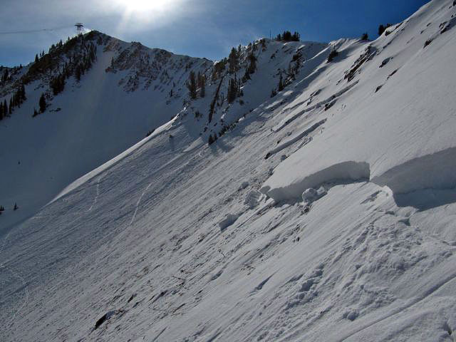 Looking at the fracture line of the same slide as the first photo, above. Photo: Utah Avalanche Center