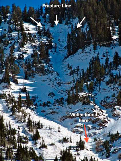 Image 4: The accident site, from below. Photo: Utah Avalanche Center