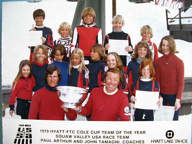Wendy Fisher, age 7, at bottom right, with Shane McConkey behind her in the back row. Photo: Wendy Fisher collection