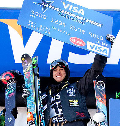Barrymore smiles on the podium Friday at Copper. Photo: Tom Zikas/U.S. Freeskiing