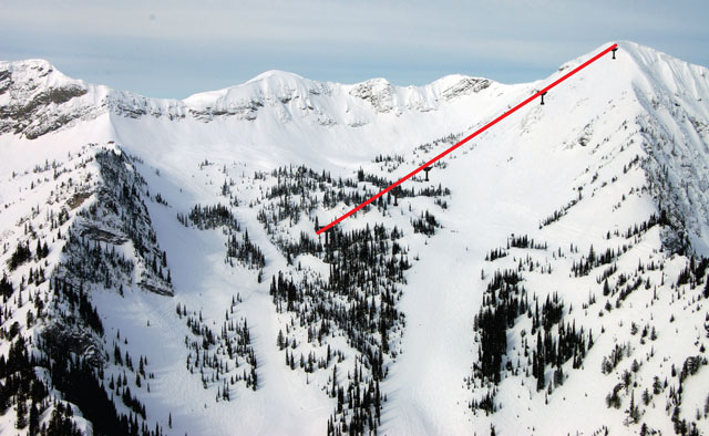 A photo illustration of the new Polar Peak lift, slated to open Jan. 14. Photo: Fernie Alpine Resort