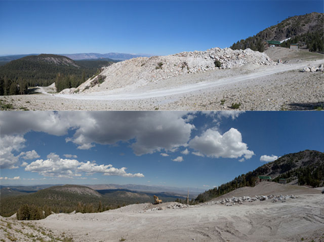 Before and after images of excavation work on the Mammoth superpipe. Photo: Peter Morning