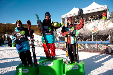 The men's slopestyle podium at Breckenridge Sunday - Nick Goepper, Tom Wallisch and Alexis Godbout, from left. Photo: Jordan Lyod