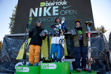 Saturday's Dew Tour superpipe podium: D. Adams, K. Rolland and J. Dorey, from left. Photo: Jordan Lyod