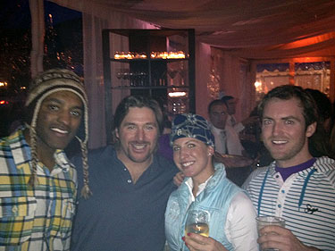Justin Vassar, Casey Puckett, Sylvia Semper and the author, from left, during the AVSC party poach. (Puckett may be the best dancer the U.S. Ski Team has ever produced.)