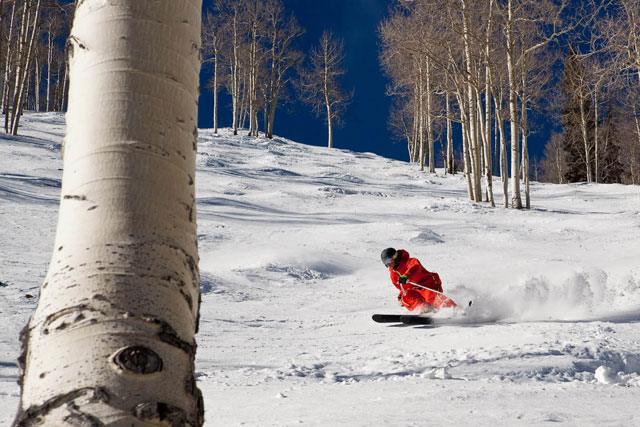 Parker Olsen finds something to lay into on Ajax. Note: It did indeed snow since this photo. Photo: Jeremy Swanson/AspenSnowmass.com