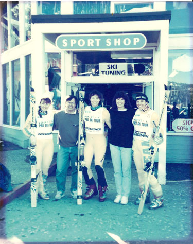 Racers pose for a photo with Sports Shop owners Dennis and Chris Willard sometime in the '80s. Photo: Sports Shop collection