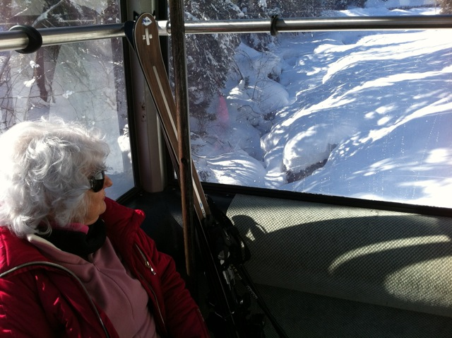 Who knew I'd get to ride the gondola with the Soul of Skiing cover lady?