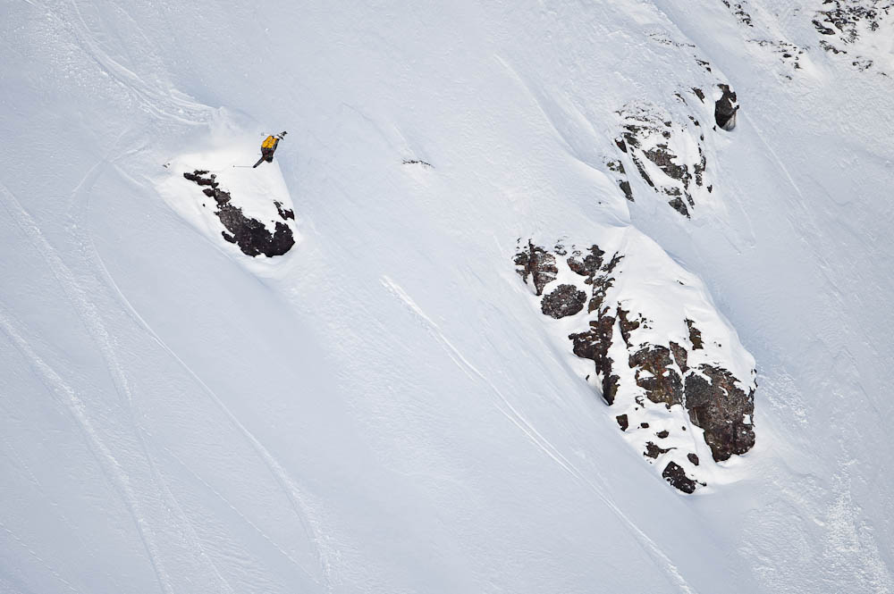 Collin Collins rodeo's at the big mountain event at Red Bull Cold Rush. Photo: Mike Arzt