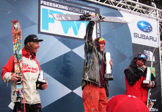 Chickering-Ayers tests Fly Low's waterproofing on the podium
