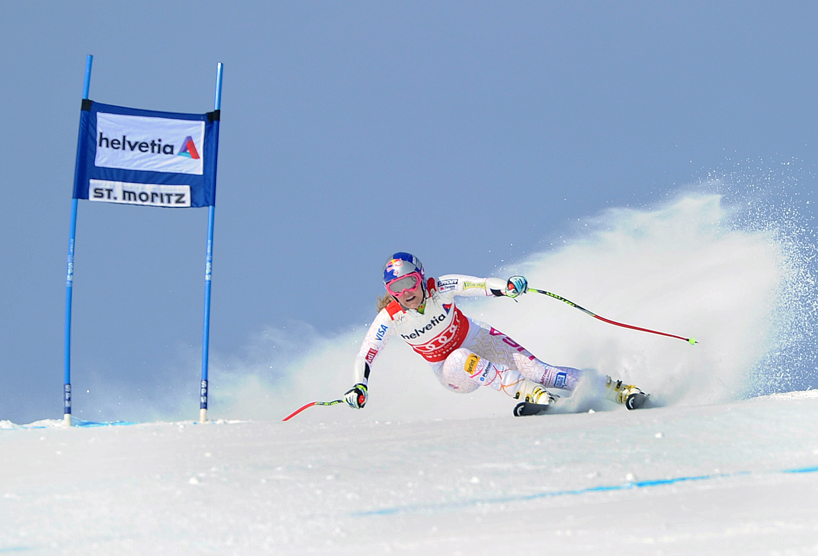 Lindsey Vonn at St. Moritz on January 29, 2012, racing in the super-combined. Photo: Erich Speiss/Red Bull Content Pool
