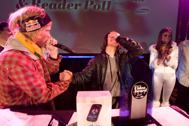 Sean Pettit receives high praise from Tanner Hall after winning Breakthrough Performer at the 2010 Powder Awards.