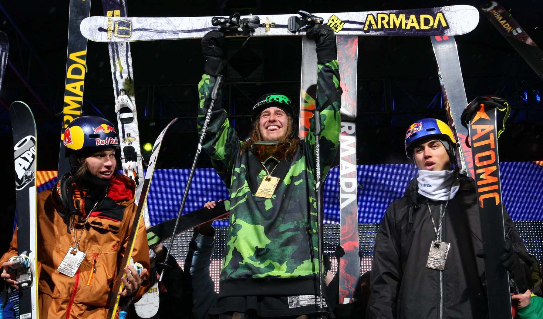 Kai Mahler, Henrik Harlaut, and Elias Ambuhl on the X Games Ski Big Air podium. PHOTO: COURTESY OF ESPN