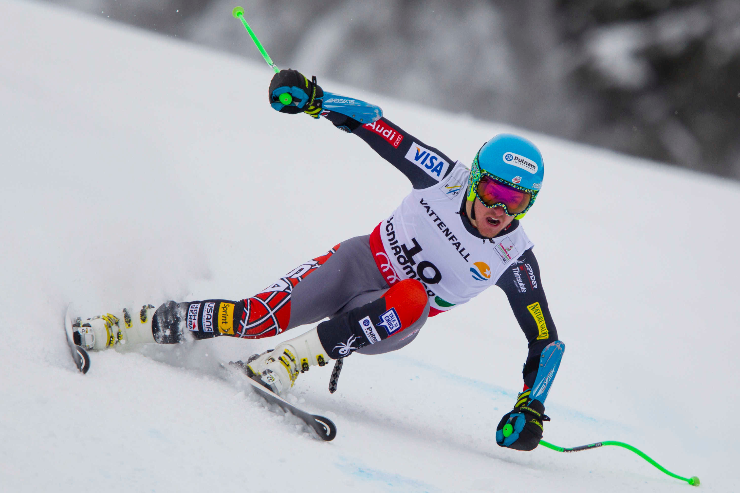 Ted Ligety en route to his first super-G gold. PHOTO: Mitchell Gunn/ESPA