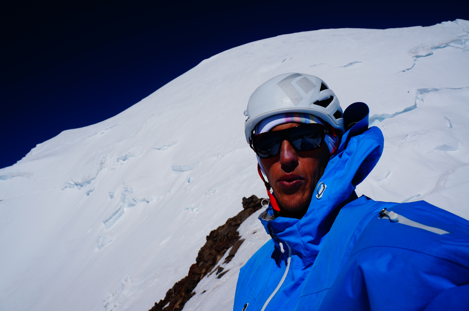 Only a world champion can make a quick ascent/descent on Rainier and still shoot a selfie. Tabke working on his optimum tanning angle. PHOTO: Tabke