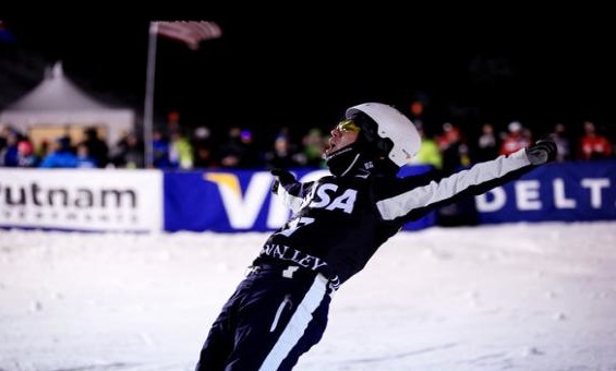 Mike Rossi, who started aerials in the EADP program, celebrates after he earned his career first podium at the 2013 Visa Freestyle World Cup at Deer Valley Resort. PHOTO: Courtesy of USSA