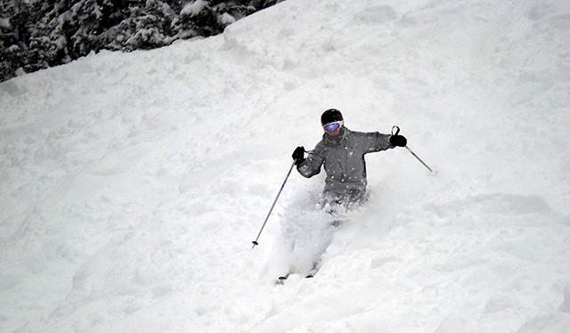 Ski Bums goes beyond the obvious Gay Ski Week locations like Aspen and Whistler. Here, a member shreds chowder in Austria. PHOTO: Courtesy of Ski-Bums.org