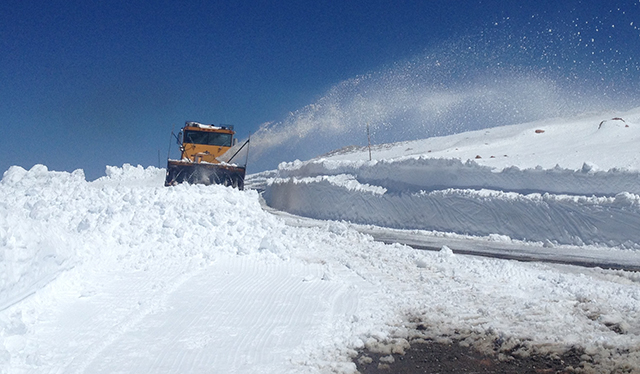 WYDOT moves the last of the snow off of Beartooth Pass. PHOTO: Griffin Post
