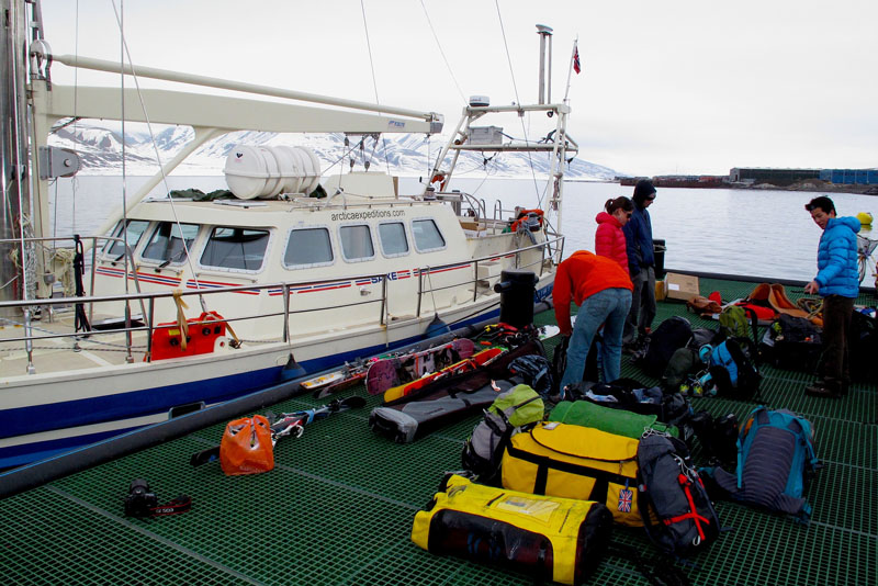 A trip for mulitiple days sail and skiing in the arctic requires serious gear. PHOTO: Brennan Lagasse